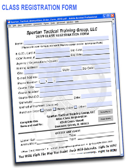 Spartan Tactical CLASS REGISTRATION Form 2018
